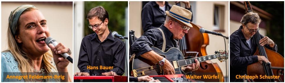 JazzPastry, die Musiker: Annegret Feldmann-Ihrig (Vocals-Percussion), Hans Bauer (Piano), Walter Würfel (Gitarren), Christoph Schuster (Kontrabass); Fotos by Jan Brockwitz